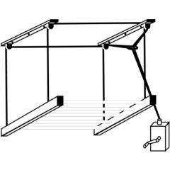 Tendedero techo manivela 200cm acero blanco sube-baja tendederos y tiradores