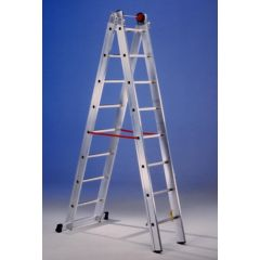 Escalera industrial doble con base 12 peldaños 3,50/6,00mt aluminio svelt