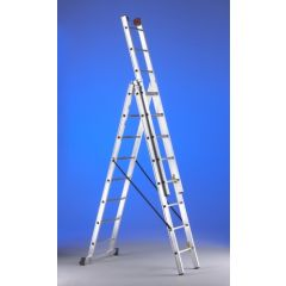 Escalera industrial triple con base 10 peldaños 3,00/6,30mt aluminio svelt