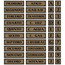 Placa señalizacion autoadhesiva puerta c 090x090mm aluminio oro super-letra sl