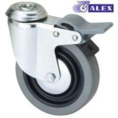 Rueda giratoria con freno agujero pasante 060kg cojinete liso 080mm goma inyectada negra bandaje gris ruedas alex 1-0387