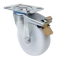 Rueda giratoria con freno platina 106x086mm 200kg cojinete liso 100mm poliamix blanco ruedas alex 2-1194