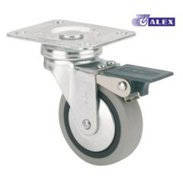 Rueda giratoria con freno platina 70x55mm 022kg cojinete liso 050mm goma inyectada negra bandaje gris ruedas alex 1-0548