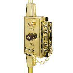Cerradura sobreponer multibarra 205x100mm 7 pasadores dorado fac 09585
