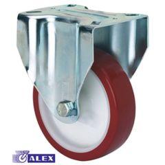 Rueda fija platina 107x086mm 200kg 125mm poliuretano inyectado blanco bandaje rojo ruedas alex 2-2363