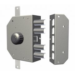 Cerradura seguridad sobreponer entrada 60mm 130x164x32mm izquierda apertura  pomo interior dorado cr 3250-dor.-i