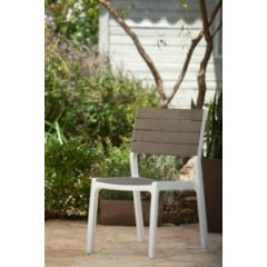 Silla jardin fija resina aluminio/madera harmony curver 228456