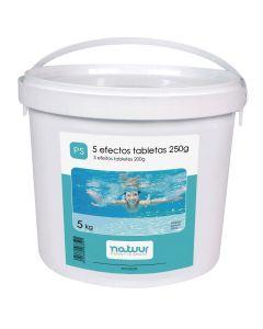 Cloro piscina 5 acciones tableta 200gr natuur 5 kg nt100239