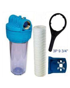 """Filtro agua cartucho 9 3/4"""" llave soporte previo descalcificar 3pz 1"""" hidrowater"""