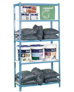 Estanteria ordenacion 5 baldas sin tornillos 1800x900x400mm metal azul/blanco nivel nv101265