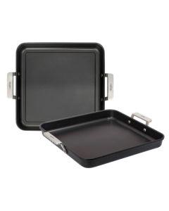 Grill cocina plancha liso con mango 28x28cm aluminio fundido valira 4688/25