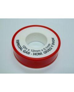 Teflon fontaneria alta densidad para gas 12mmx0,1mmx12mt blanco saneaplast