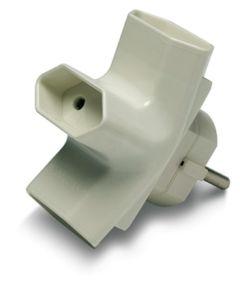 Adaptador electricidad 10a-250v 40x90x80 policarbonato blanco famatel triple 1209