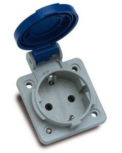 Base electricidad empotrar 2p+ttl 16a 220v 75x75x52 poliamida/abs azul famatel 13950