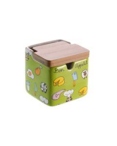 Azucarero cocina con tapa 8,5x8,5x9cm ceramica verde versa 106480