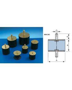 Antivibratorio soporte cilindrico macho 40x28mm / m-10 amc 12 pz 120052