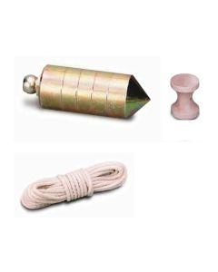Plomada albañil 0400gr nusac laton ma nuez madera juego hierro 17204