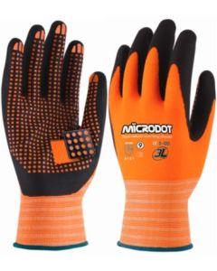 Guante mecanico puntos dot-t nylon naranja/negro microdot 3l microdot t-8