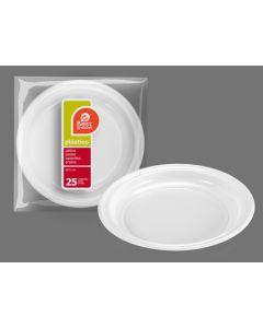 Plato desechable llano 20,5cm plastico blanco best products 25 pz