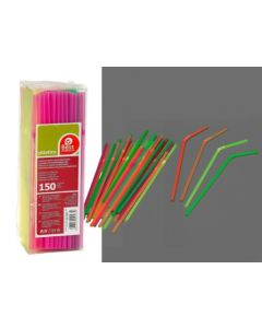 Pajita desechable flexible 21cm plastico neon best products 150 pz