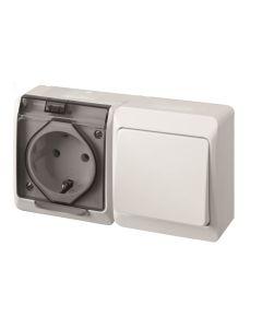 Interruptor electricidad estanco conmutador 16amp-250v blanco/verde abs famatel
