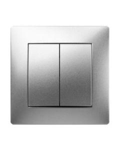 Interruptor electricidad empotrar conmutador doble 10a-250v abs aluminio famatel habitat 15 9403