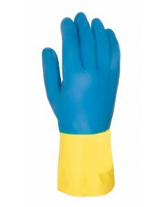 Guante quimico natural flocado latex/neopreno azul/amarillo 322 juba 322/7-7´5