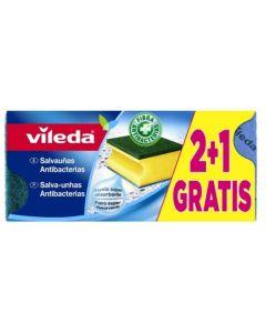 Estropajo limpieza salvauñas fibra verde doble uso vileda            116945