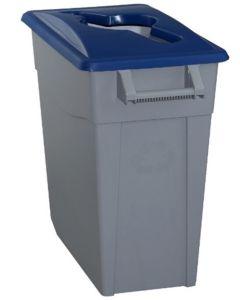 Contenedor basura con ruedas 65lt plastico tapa abierta azul denox 23230 az