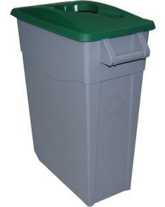 Contenedor basura con ruedas 65lt plastico tapa abierta verde denox 23230 vd