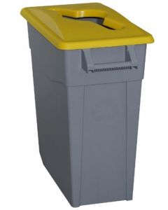 Contenedor basura con ruedas 65lt plastico tapa abierta amarillo denox 23230 am