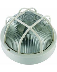Aplique iluminacion blanco smartwares exterior redondo rejilla plastico 10.021.55
