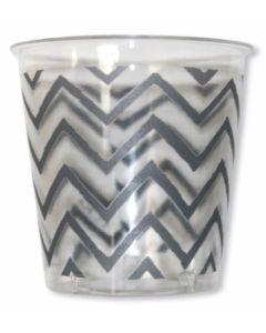 Vaso desechable 250cc plastico blanco/plata chevron extra 8 pz