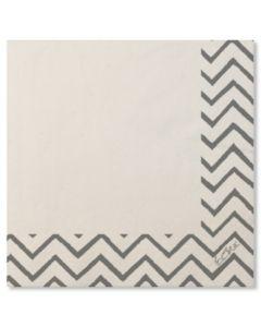 Servilleta mesa 33x33 papel blanco/plata chevron extra 20 pz 07rca 118161
