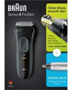 Afeitadora electrica sin cable laminas +naricero 3000 serie 3 + en10 braun