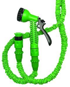 Manguera riego extensible conectores+pistola 7-22,5mt verde aquacenter c2622a