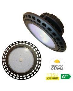 Campana iluminacion led ufo 150w 20.250lm aluminio 5700k-negro industrial smd3030 osram rsr 8766