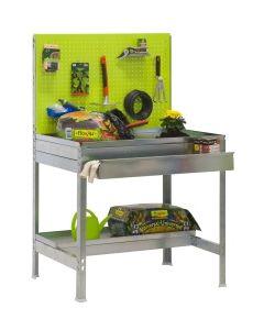 Banco trabajo 2 baldas sin tornillos 1440x1200x400mm metal verde/galvanizado simongarden - bt2 box simonrack 77g109224141242