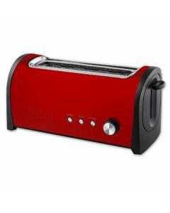 Tostador cocina 1000w acero inox rojo rebanada larga kuken