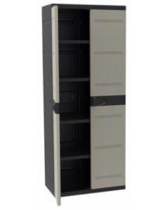 Armario ordenacion 4 baldas alto 2 puertas 70x44x176cm plastiken negro/beige titanium 9203neg