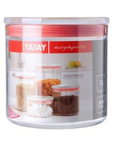 Bote cocina hermetico 1l poliestireno transparente junta roja tatay