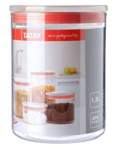 Bote cocina hermetico 1,5l poliestireno transparente junta roja tatay