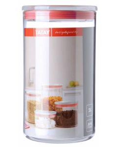 Bote cocina hermetico 2l poliestireno transparente junta roja tatay