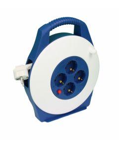Enrollacable electricidad 2 tomas tt termostato 3x1,5mm 05mt 3500w blanco/azul t