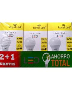 Lampara iluminacion led estandar e27 13w 1300lm 3000k royal led 3 pz 111630