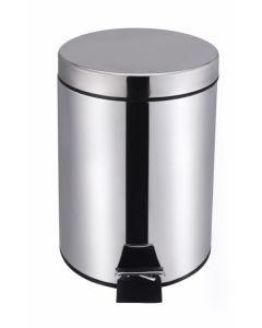 Cubo basura con pedal cubeta extraible 05lt ø17x25,5cm acero inox vivahogar