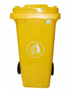 Contenedor basura con ruedas tapa 120 lt plastico amarillo natuur nt125869