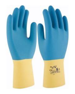 Guante quimico natural flocado latex amarillo/azul hp-300 3l bi neox t-8