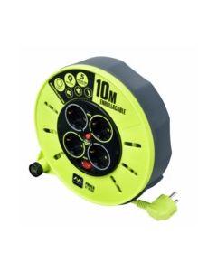 Enrollacable electricidad 4 tomas tt termostato 3x1,5mm 10mt verde/gris acero/pv
