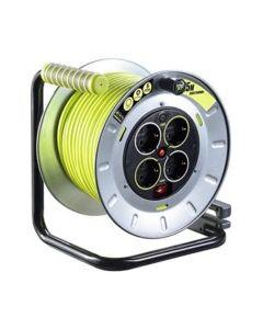 Enrollacable electricidad 4 tomas tt termostato 3x1,5mm 25mt  3680v 230v verde/gris metal masterplug